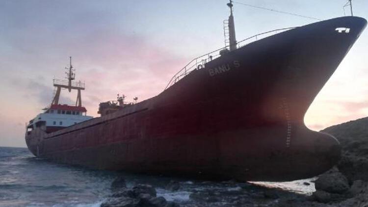 Bozcaada açıklarında kargo gemisi karaya oturdu!
