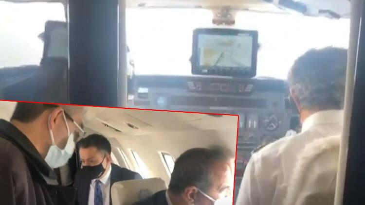 İşte uçağın içinden o anlar!  Bakan Pakdemirli'nin uçağı acil iniş yaptı